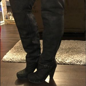 Rachel Roy above knee leather black boots